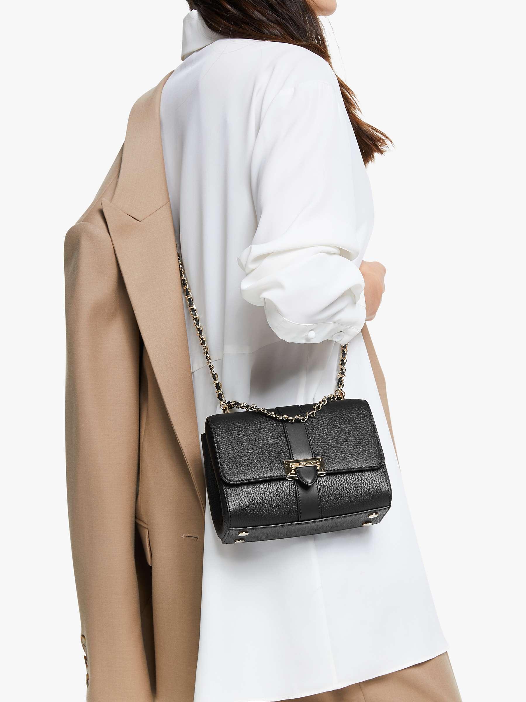 Aspinal of London Lottie Small Pebble Leather Shoulder Bag, Black ...