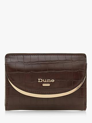 Dune Kemillie Croc-Embossed Bi-Fold Purse, Brown