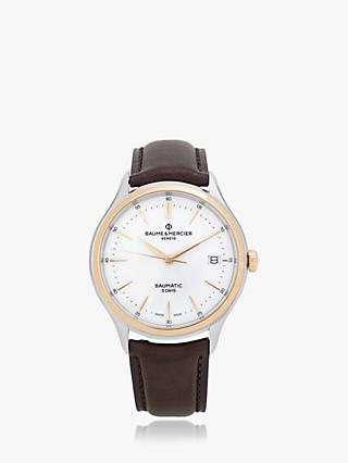 Baume et Mercier M0A10536 Men's Clifton Baumatic Automatic Date Leather Strap Watch, Brown/White