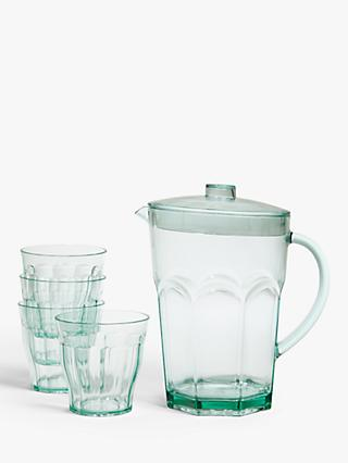 House by John Lewis Fluted Plastic 1.5L Pitcher & 4 Tumblers Set, Light Blue