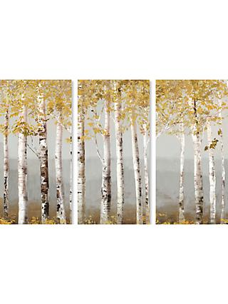 Allison Pearce - Soft Birch Trees Triptych Canvas Print, 30 x 60cm, Set of 3, Green/White