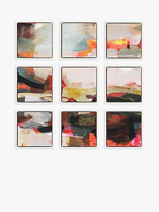 Alice Sheridan - Abstract Floating Framed Canvas Print, Set of 9, 34 x 34cm, Red/Multi