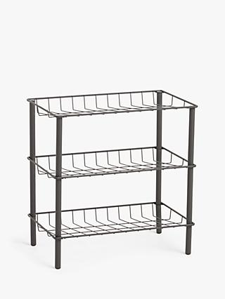 House by John Lewis Narrow Shoe Rack, Grey