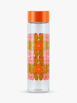 Orla Kiely Flower Tile Glass Water Bottle, 525ml, Rose/Mustard
