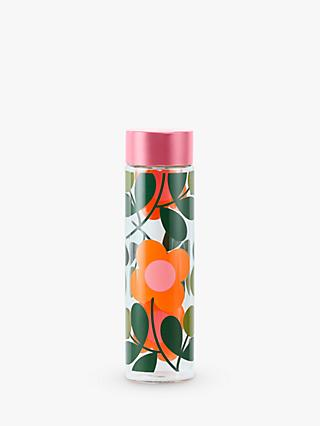 Orla Kiely Flower Stem Sprig Glass Water Bottle, 525ml, Papaya