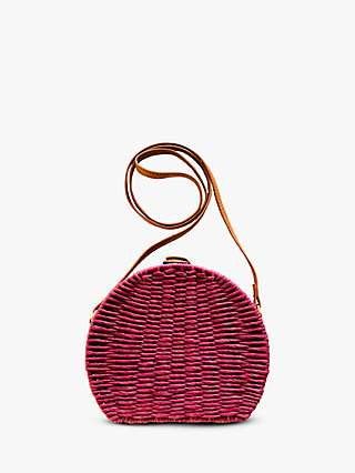 Powder Verity Round Crossbody Basket Bag, Plum