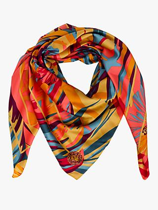 Powder Floral Satin Square Scarf, Multi