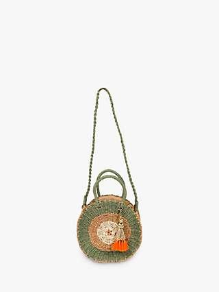 Powder Serena Round Seagrass Crossbody Bag, Olive