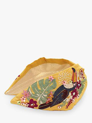 Powder Toucan Embroidery Headband, Yellow/Multi