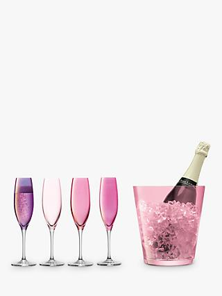 LSA International 4 Champagne Flutes & Ice Bucket Gift Set, Pink