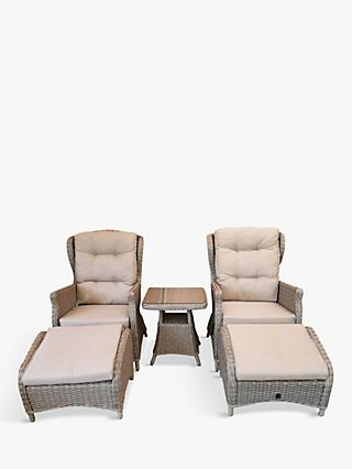 LG Outdoor Toulon Relaxing 2-Seat Reclining Garden Armchairs & Table Set, Brown
