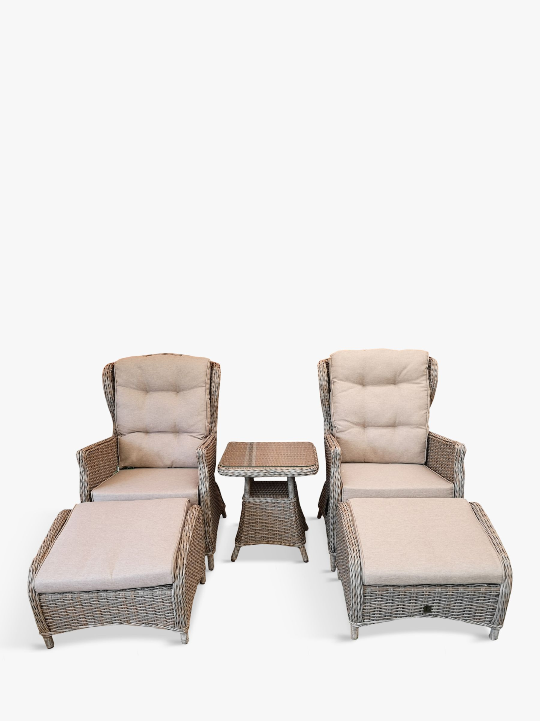 LG Outdoor LG Outdoor Toulon Relaxing 2-Seat Reclining Garden Armchairs & Table Set, Brown