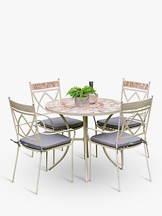LG Outdoor Morocco 4-Seat Round Garden Dining Table & Chairs Set