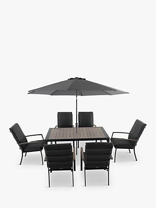 LG Outdoor Milano 6-Seat Wood-Effect Garden Dining Table & Armchairs with Parasol, Grey