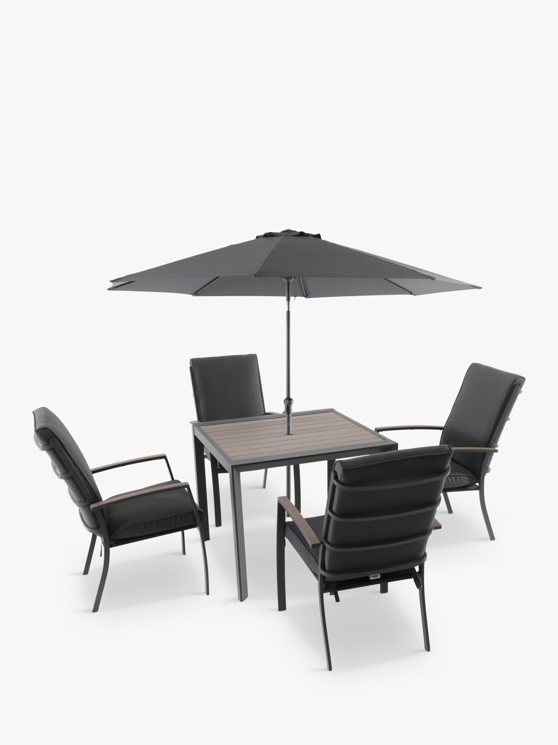 LG Outdoor LG Outdoor Milano 4-Seat Wood-Effect Garden Dining Table & Armchairs with Parasol, Grey
