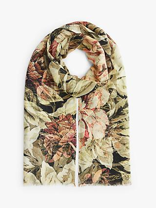 Modern Rarity Filtered Bloom Print Wool and Silk Scarf, Multi