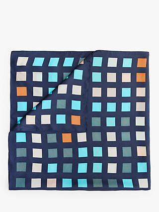 Modern Rarity Window Pane Print Square Silk Scarf, Navy Mix