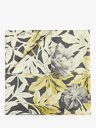 Modern Rarity Unfinished Floral Print Square Silk Scarf, Grey/Ochre Mix