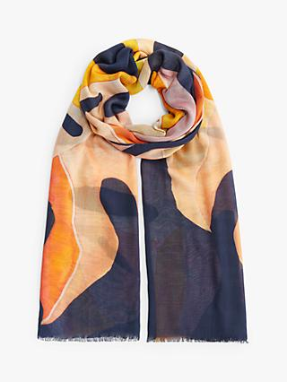 John Lewis & Partners Intrepid Palm Leaf Print Scarf, Navy Mix
