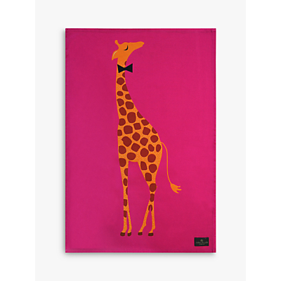 Sara Miller Giraffe Placement Print Tea Towel, Pink/Multi