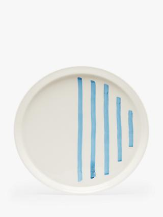 Joules Striped Dinner Plate, 27cm, Blue/White