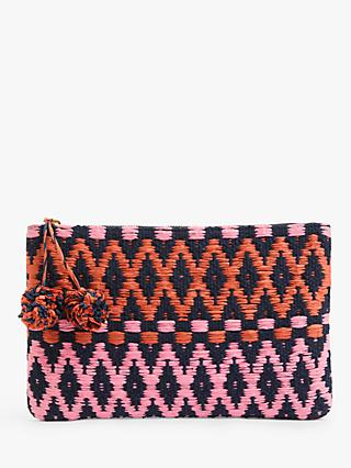 John Lewis & Partners Diamond Weave Pom Pom Zip Clutch, Multi
