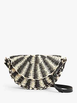 John Lewis & Partners Half Moon Cross Body Straw Bag