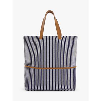 Product photo of John lewis partners stripe cotton canvas shopper bag navy