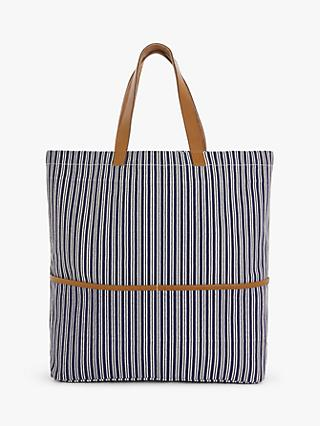 John Lewis & Partners Stripe Cotton Canvas Shopper Bag, Navy