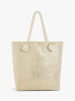 John Lewis & Partners Cotton Rope Handles Tote Bag, Cream Mix