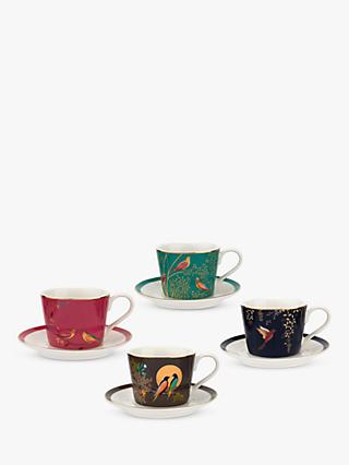 Sara Miller Chelsea Collection Birds Espresso Mugs, 100ml, Set of 4, Assorted