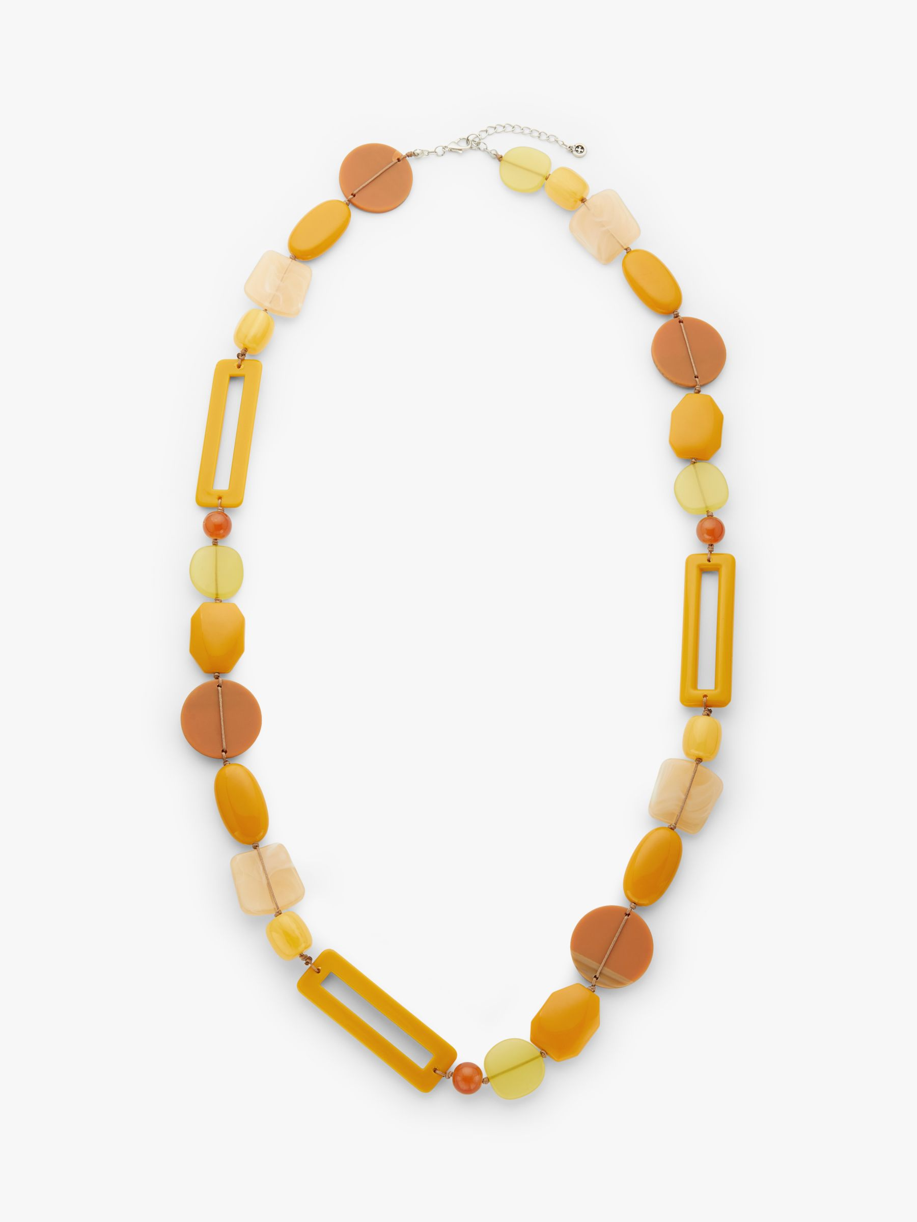One Button One Button Beaded Long Statement Necklace, Mustard