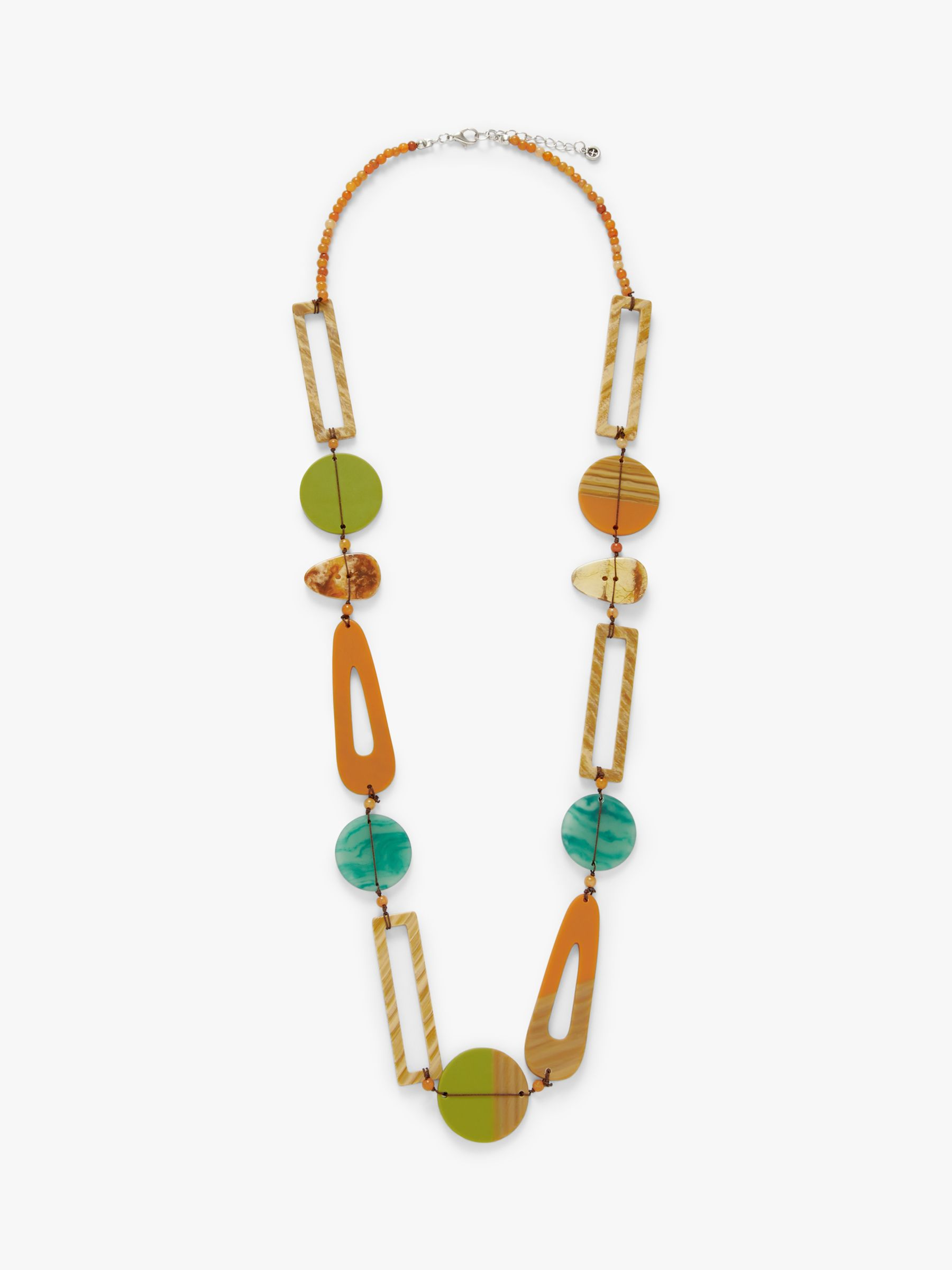 One Button One Button Asymmetric Bead Long Necklace, Toffee/Green