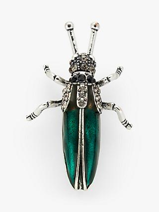 One Button Enamel and Glass Crystal Bug Brooch, Emerald