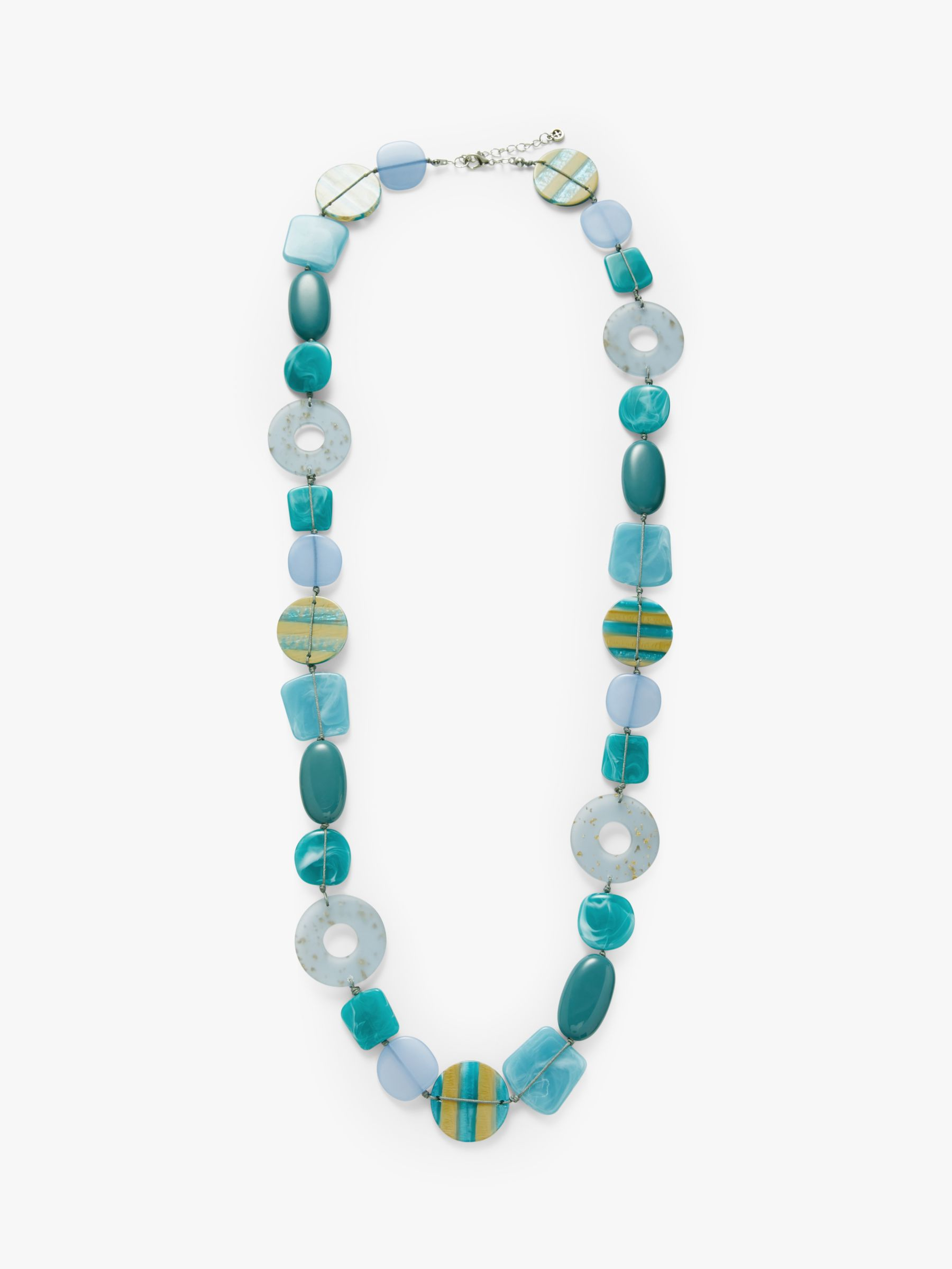 One Button One Button Beaded Long Statement Necklace, Powder Blue/Turquoise