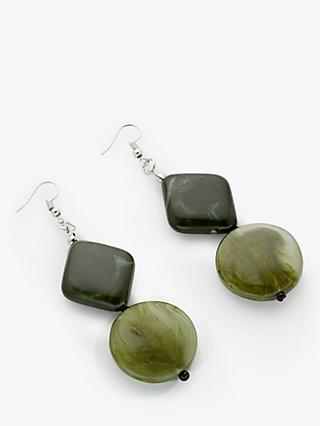 One Button Double Drop Hook Earrings, Green