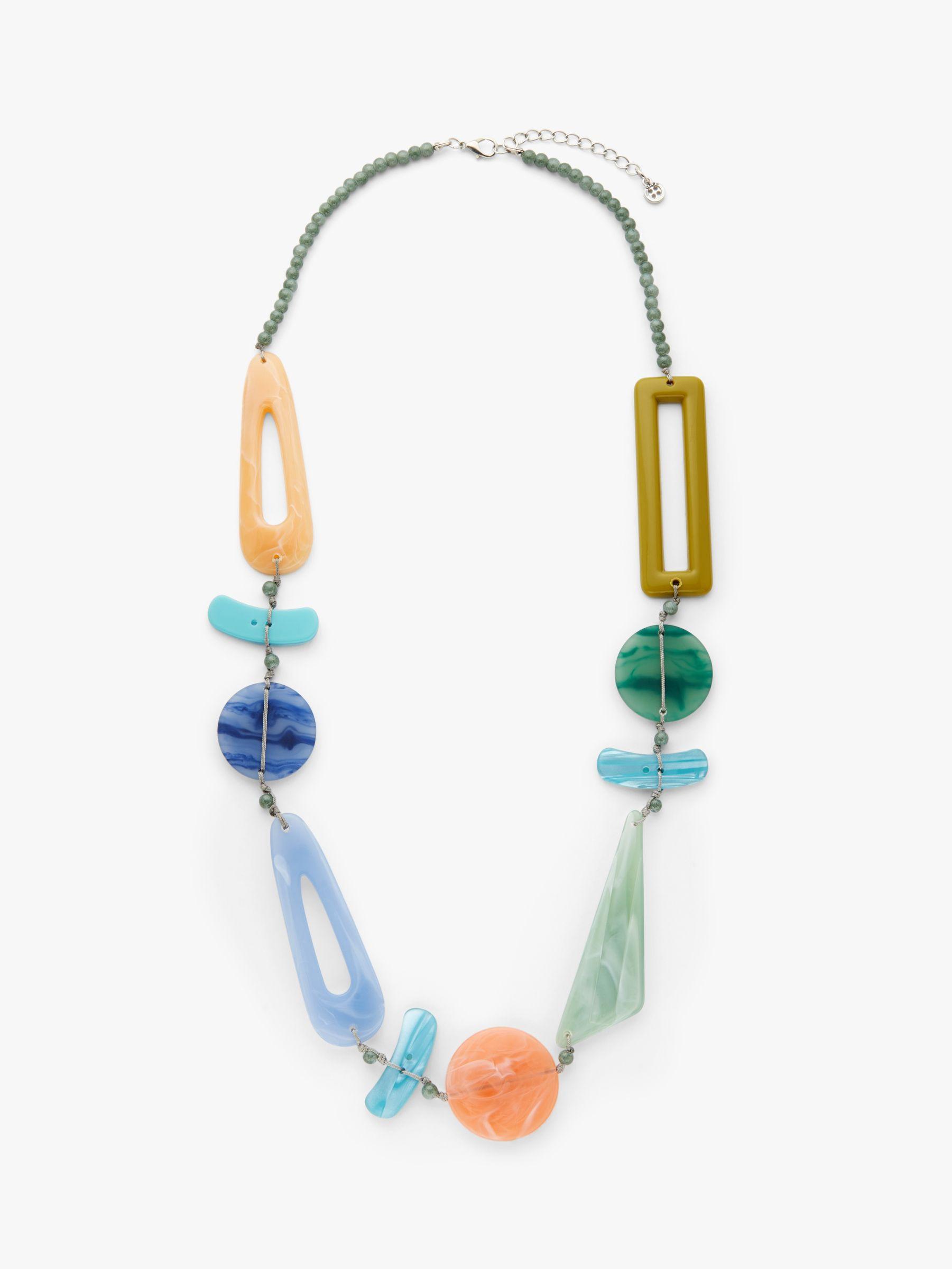 One Button One Button Asymmetric Bead Long Necklace, Blue/Multi