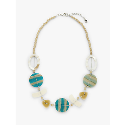 One Button Mother of Pearl Bead Necklace, Turquoise/Multi