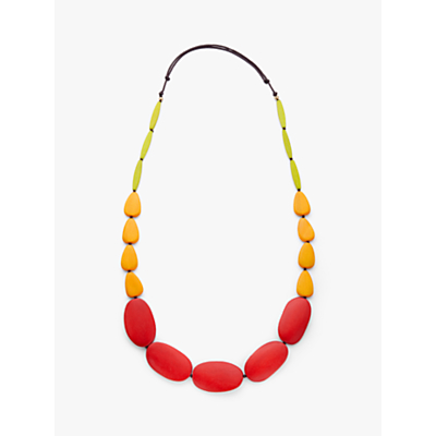 One Button Multi Drop Cord Necklace, Hot Red/Yellow