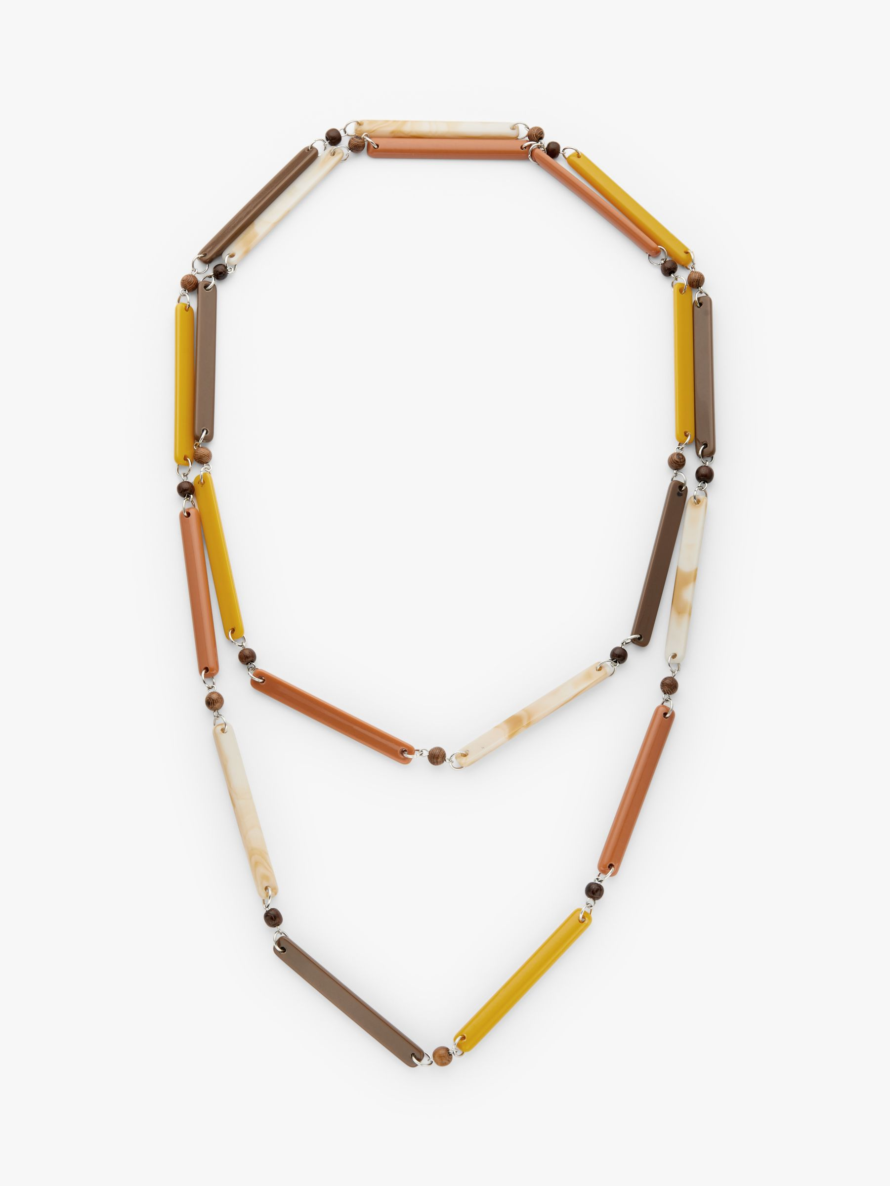 One Button One Button Beaded Long Layered Necklace, Mustard/Chocolate