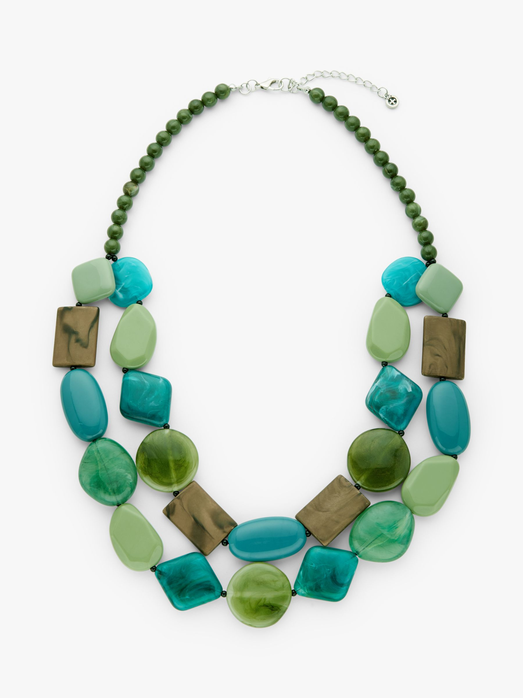 One Button One Button Double Row Layered Necklace, Sea Green/Multi