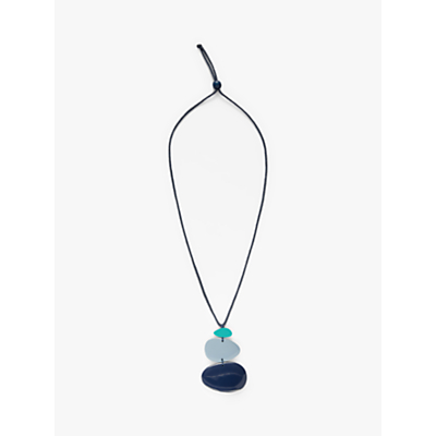 One Button Triple Pebble Cord Pendant Necklace, Blue/Navy