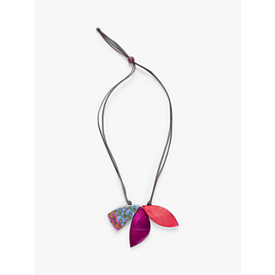 One Button Triple Leaf Cord Pendant Necklace, Purple/Red