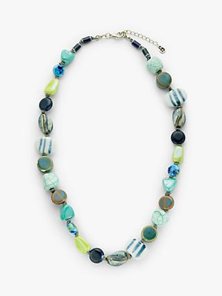One Button Multi Bead Necklace, Blue Mix
