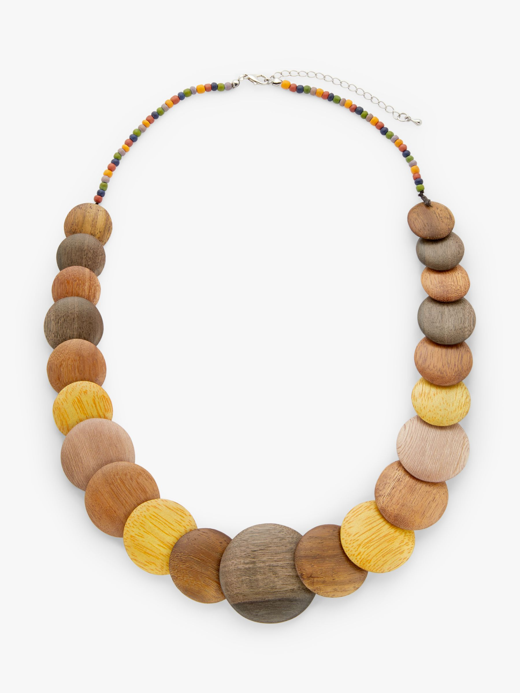 One Button One Button Round Flat Wood Bead Necklace, Chocolate/Lemon
