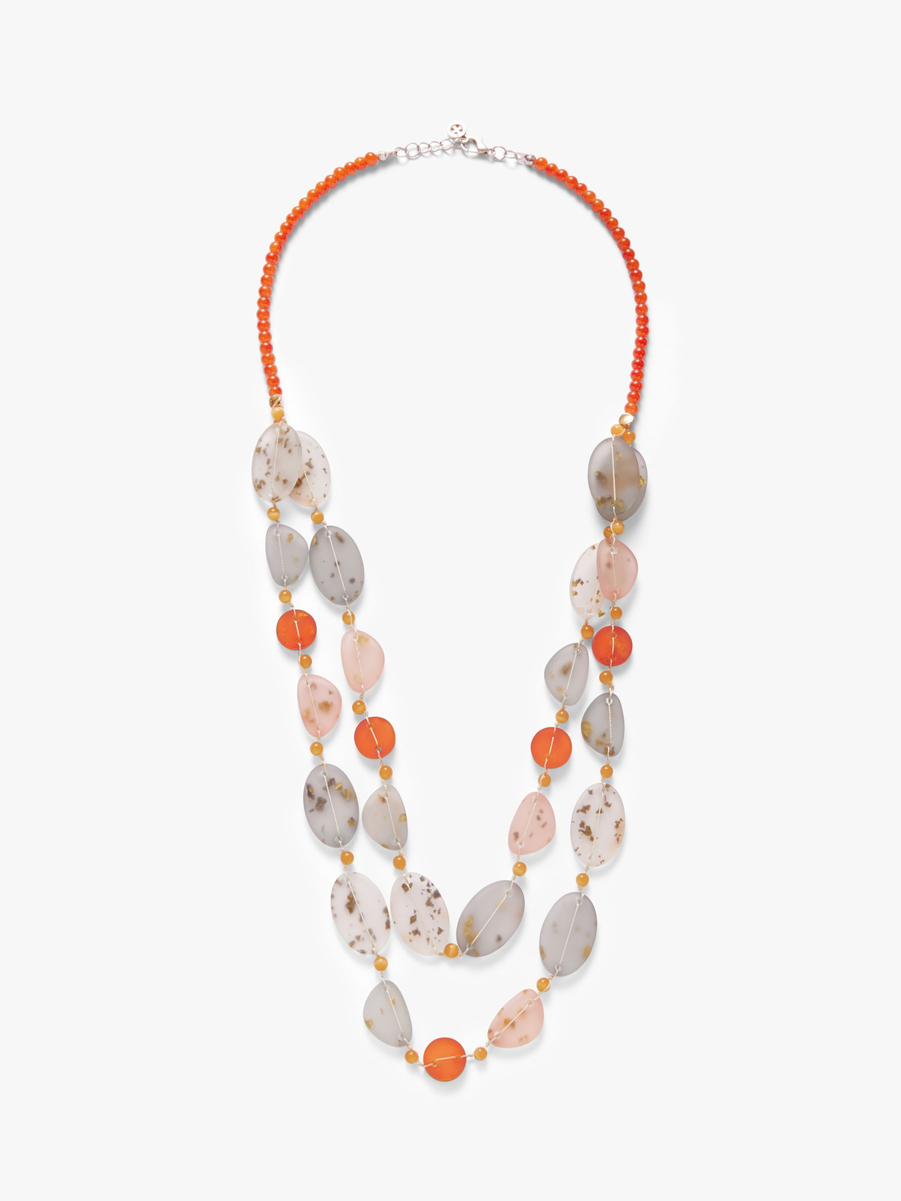 One Button One Button Double Row Layered Necklace, Multi