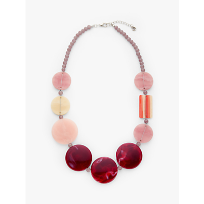 One Button Beaded Statement Necklace, Soft Rose/Wine
