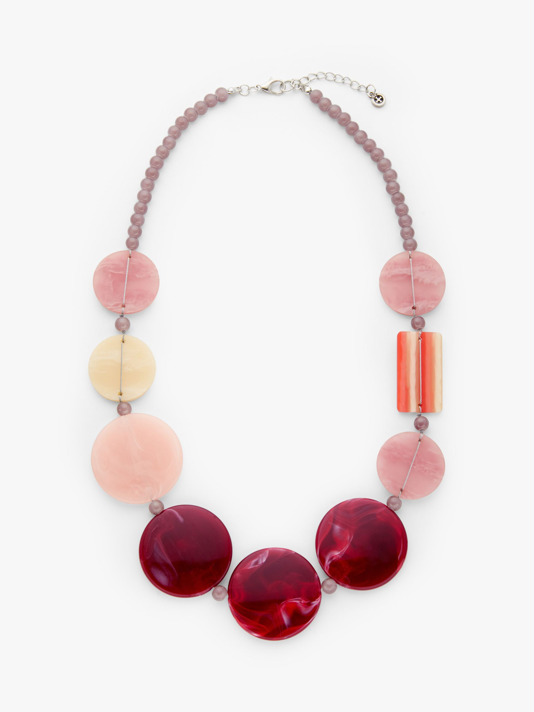 One Button One Button Beaded Statement Necklace, Soft Rose/Wine