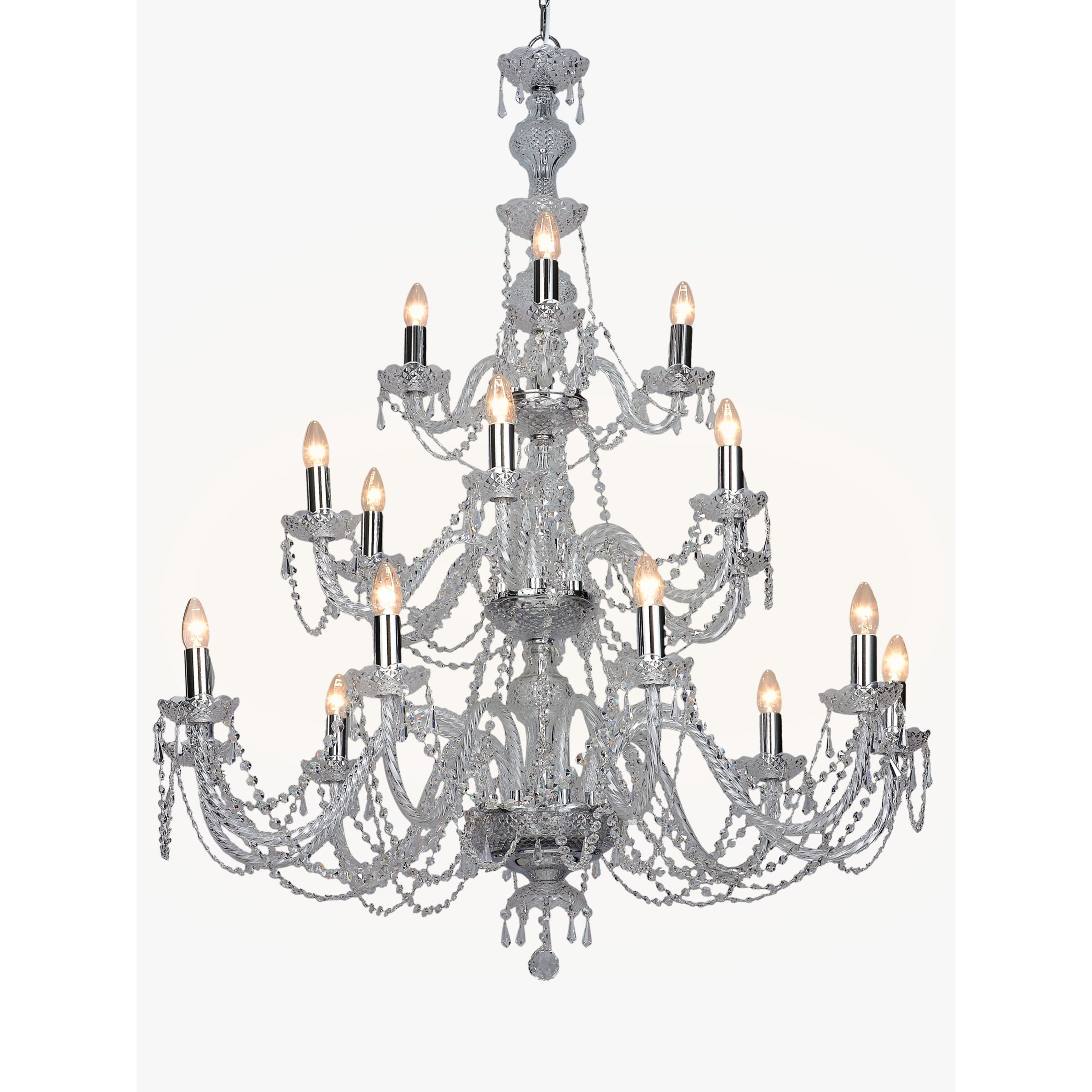 Impex Impex Modra Crystal Chandelier Ceiling Light, Clear/Chrome