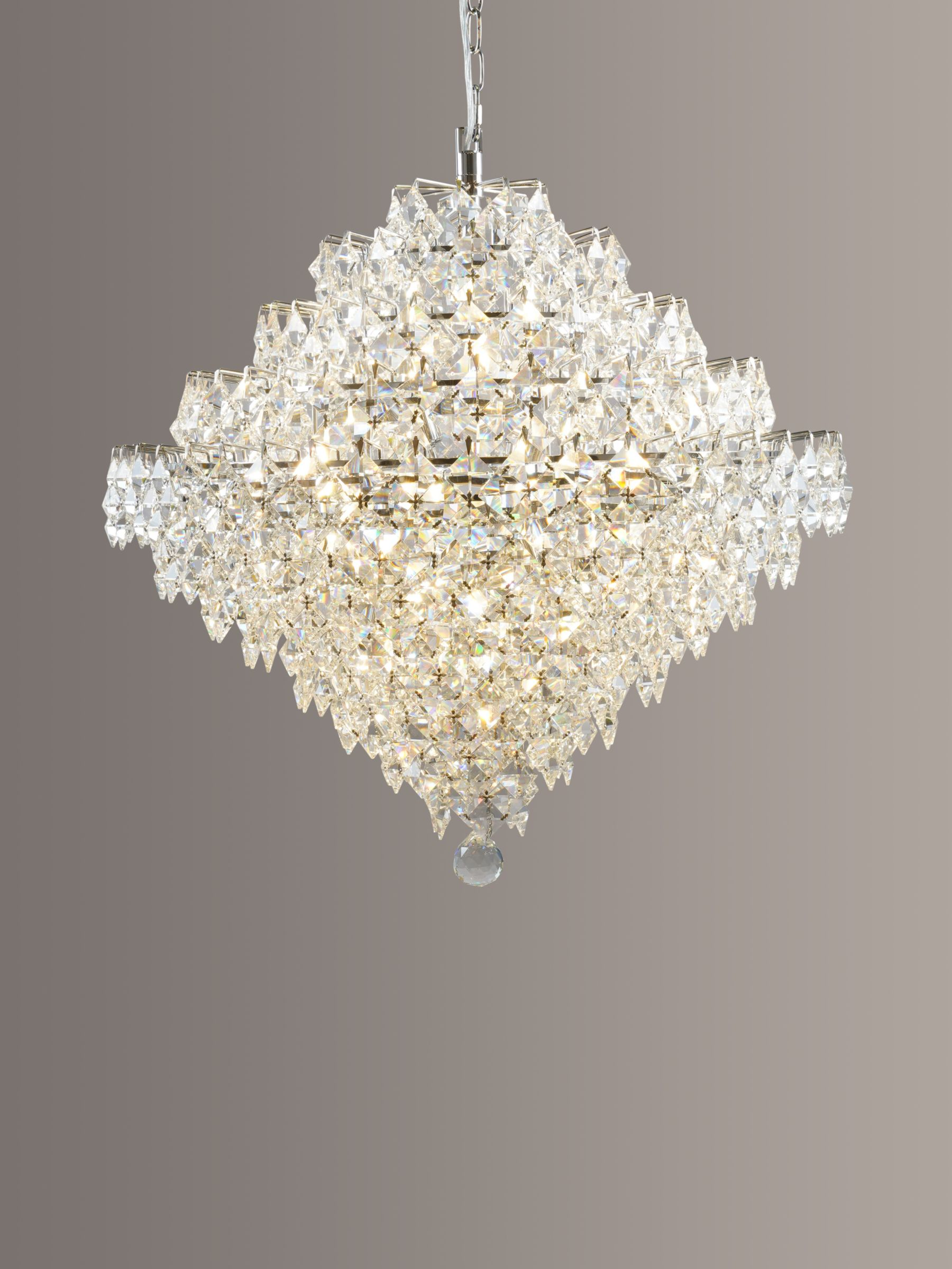 Impex Impex Diamond Lead Chandelier Ceiling Light, Clear/Chrome